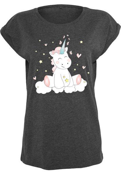 Damen T-Shirt Extended Shoulder Tee Einhorn Cutie