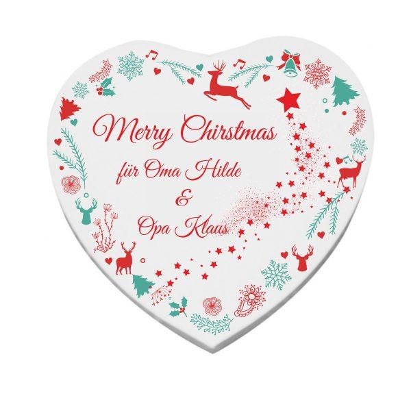 Herzleinwand Rentier für Weihnachten