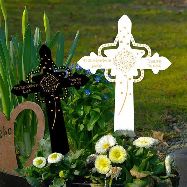 Grabkreuz mit Stern Pusteblume aus Herzen