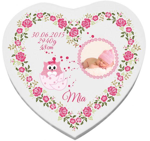 Herzleinwand zur Geburt Taufe Patengeschenk Ei Mädchen