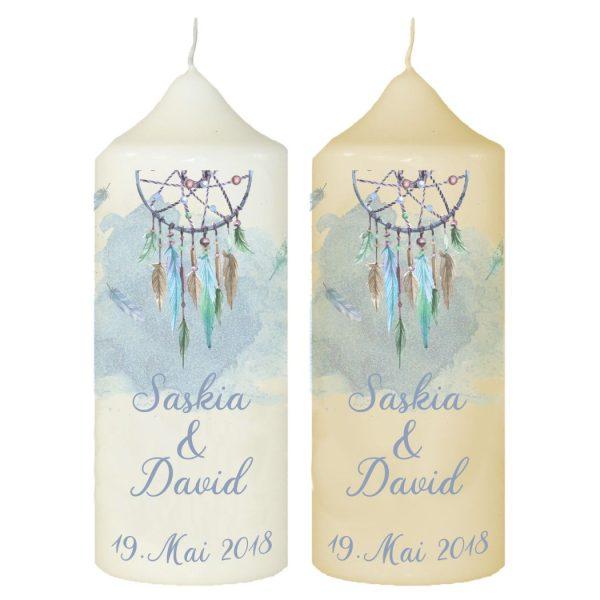 Hochzeitskerze Traukerze mit Namen und Datum Traumfänger blau