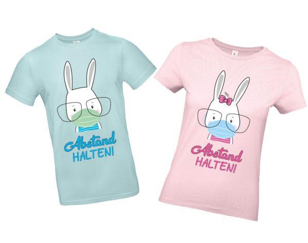 T-Shirt für Kinder Erwachsene | Krise mit Hase | Schutzmaske | Abstand halten