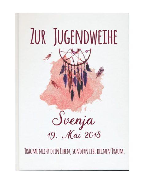 Personalisiertes Gästebuch zur Jugendweihe mit Namen und Datum Traumfänger rot