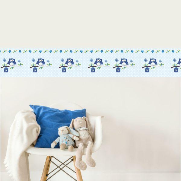 Vlies Bordüre selbstklebend für Kinderzimmer Happy Eule blau