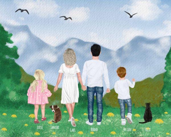Personalisierte Leinwand mit Familie und Haustier zum selbstgestalten