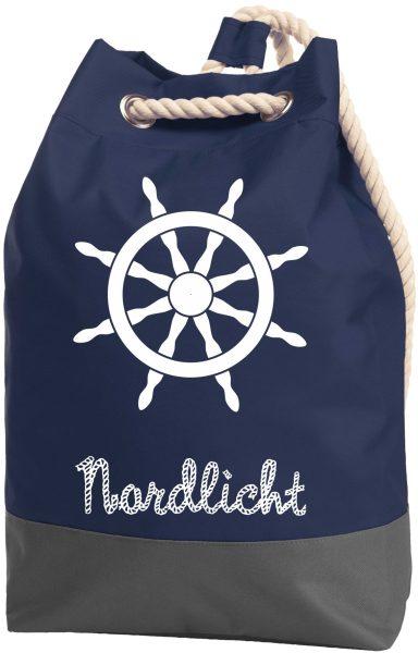 Rucksack Seesack Beutel mit Kordel Maritim Nordlicht Steuerrad