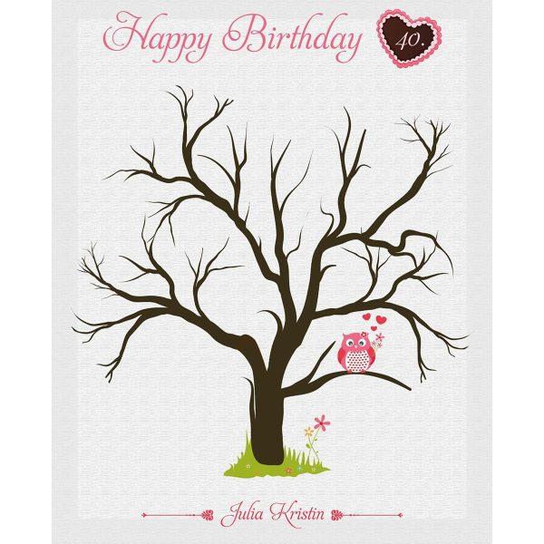 Fingerabdruckleinwand Gästebuch - Geburtstag rosa