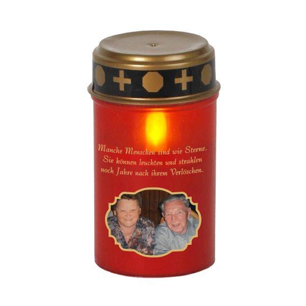 LED Grablicht Kerze Klein mit Foto Engel