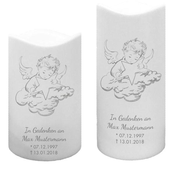 LED Kunststoff Kerze Weiß Trauerkerze Engel auf Wolke