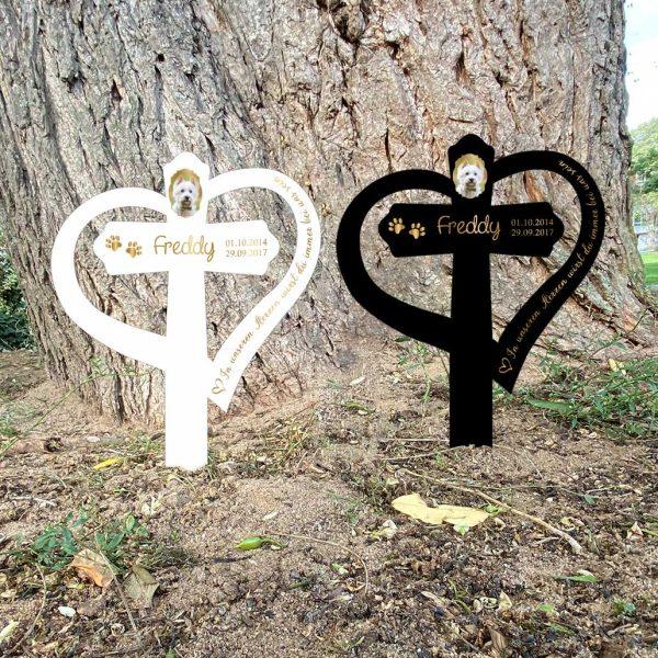 Grabkreuz mit Herz fürs Tier mit Foto und Spruch