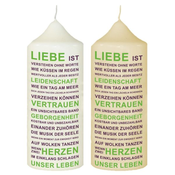 Hochzeitskerze Traukerze mit Namen und Datum Typografie Lila und Grün