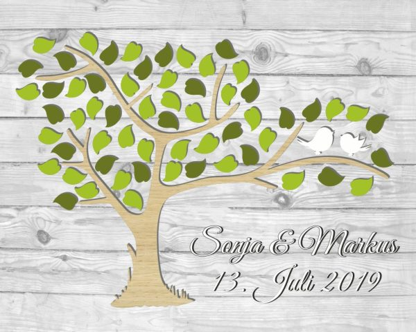 Personalisiertes Hochzeitsgästebuch auf Leinwand in 3D-Optik mit Blätter