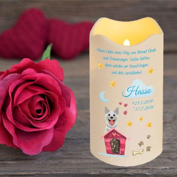 LED Kerze Trauerkerze aus Kunststoff für Tiere Hund mit Haus
