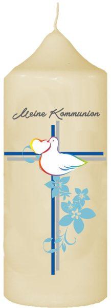 Kerze zur Kommunion mit Namen und Datum (Motiv 1)