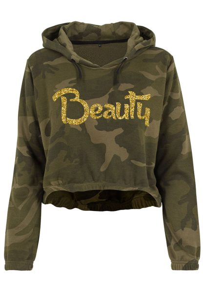 Damen Camouflage Cropped Hoodie Glitzer Beauty