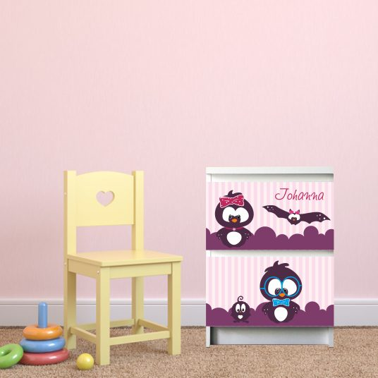 Möbelsticker für Malm-Kommode von IKEA - 4 Freunde