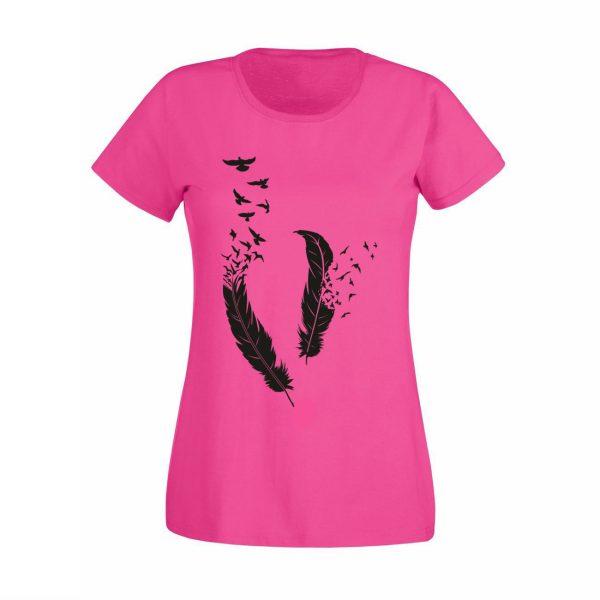 Damen T-Shirt Federn