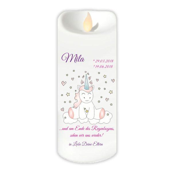 LED Kerze Twinkle Sternenkind Einhorn Cutie sitzend von vorne