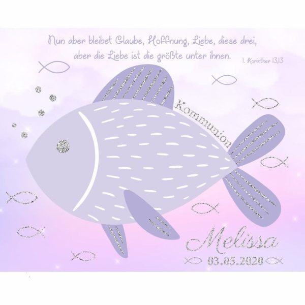 Leinwand zur Kommunion mit Silberglanz Effekt christlicher Fisch Mädchen lila