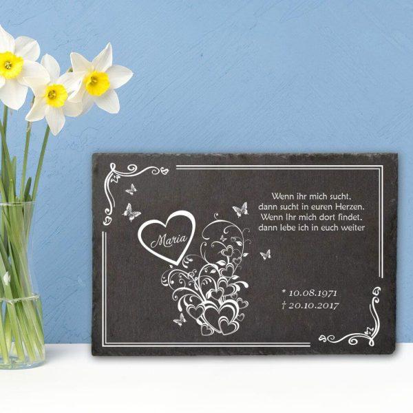 Gedenktafel Schieferplatte Herzen mit Schmetterlingen