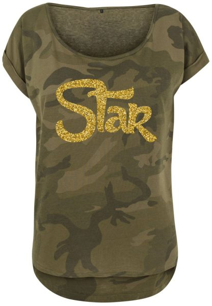 Damen Camouflage T-Shirt Glitzer Star