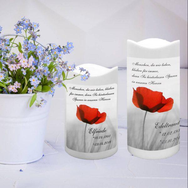 LED Kunststoff Kerze Weiß Trauerkerze Mohnblume
