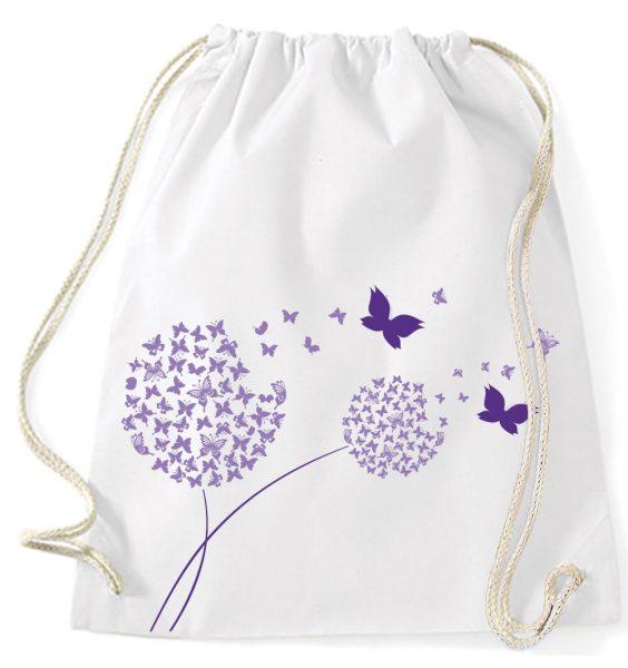 Turnbeutel aus Baumwolle in Weiß mit Pusteblume aus Schmetterlinge