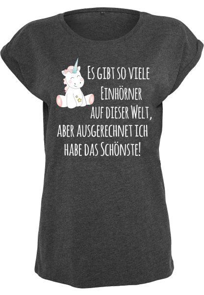 Damen T-Shirt Extended Shoulder Tee Einhorn Cutie Es gibt so viele Einhörner