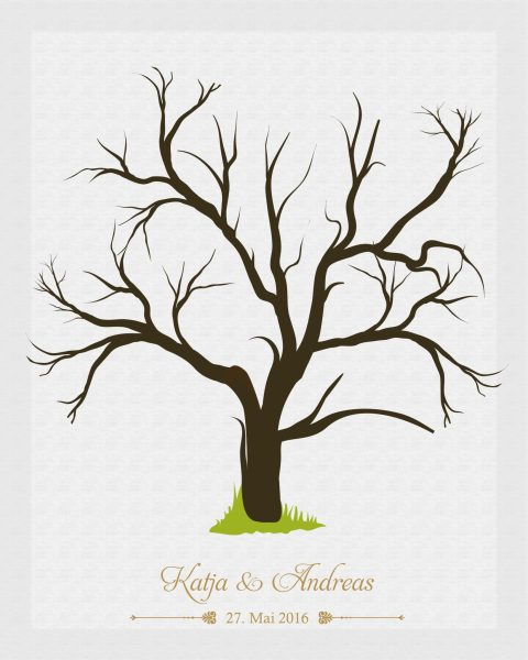 Hochzeitsleinwand Leinwand Fingerabdruckbaum Wedding Tree Gästebuch Baum
