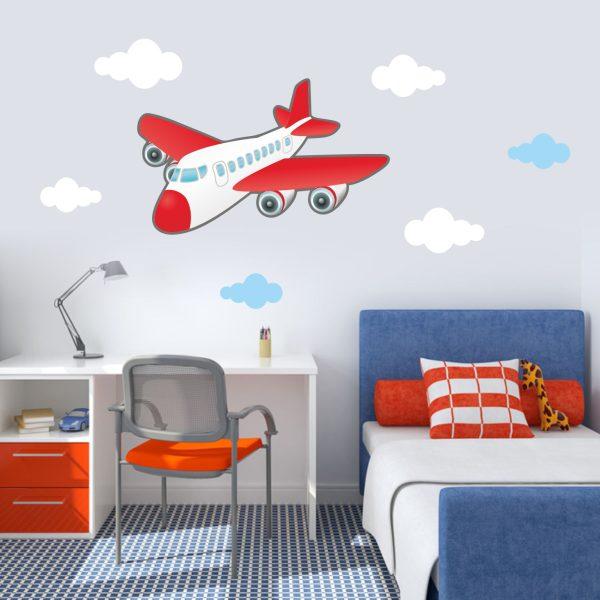Wandtattoo Flugzeug mit Wolken