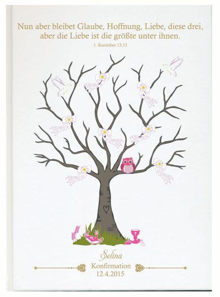 Personalisiertes Gästebuch zur Konfirmation Kommunion rosa Eule
