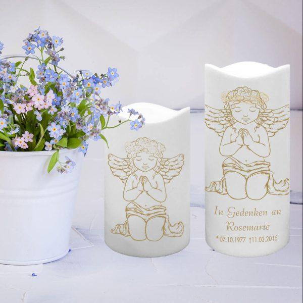 LED Kunststoff Kerze Weiß Trauerkerze Betender Engel