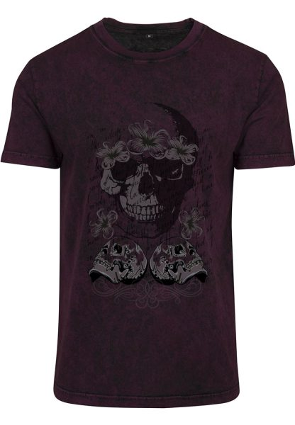Herren Acid Washed T-Shirt Totenkopf