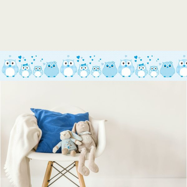 Vlies Bordüre selbstklebend fürs Kinderzimmer Patchwork blau