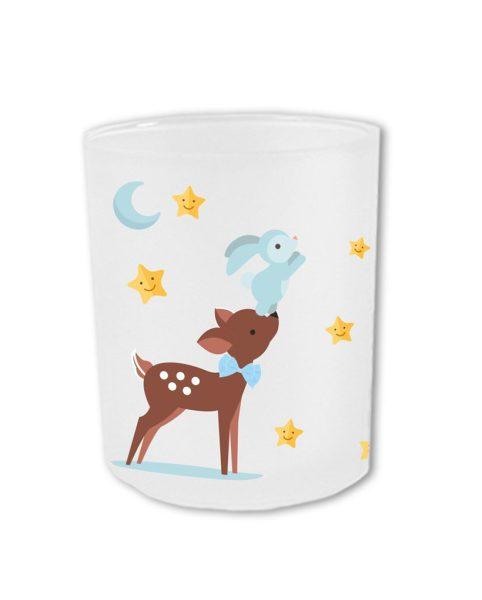 Teelichthalter fürs Sternenkind Reh mit Hase in blau