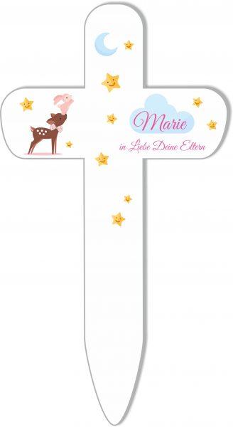 Grabkreuz Sternenkind Reh mit Hase in rosa