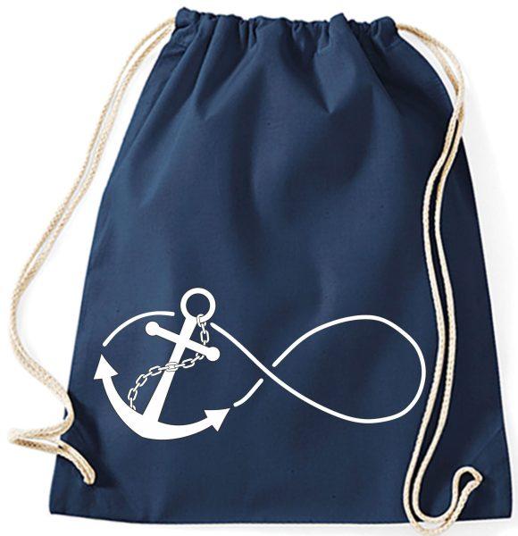 Turnbeutel aus Baumwolle in navy mit Anchor Infinity
