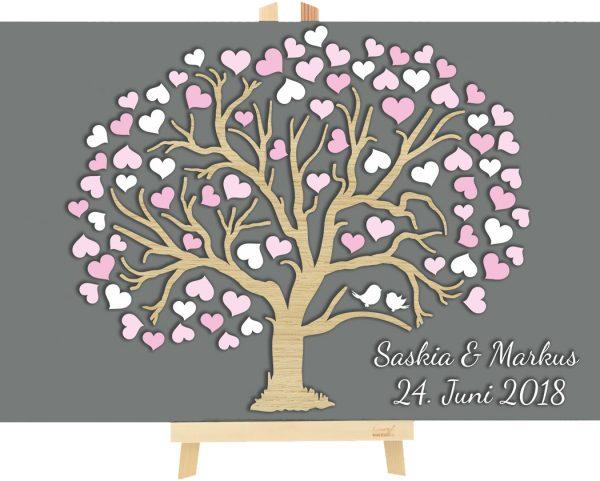 3D Baum aus Holz zur Hochzeit personalisiert Herzbaum
