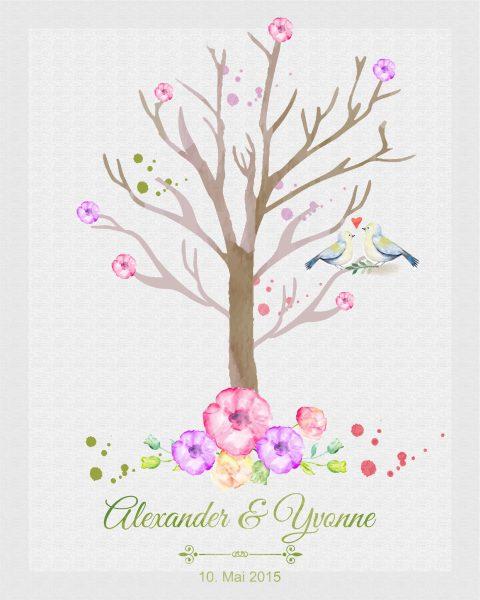 Hochzeitsleinwand Leinwand Fingerabdruckbaum Wedding Tree Gästebuch Watercolor Aquarell - lila