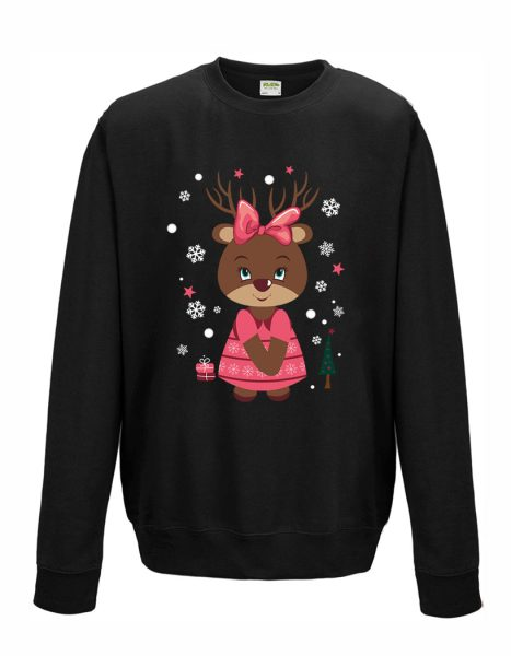 Sweatshirt Shirt Pullover Pulli Unisex Weihnachten Winter Elch Rentier Mädchen