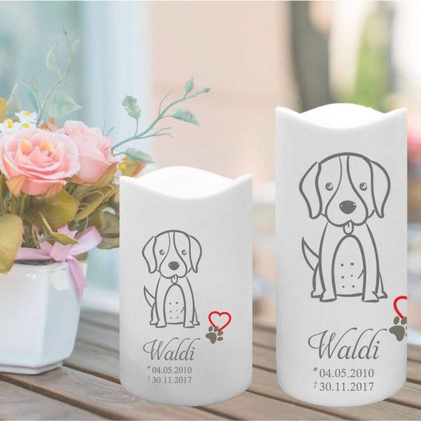 LED Kunststoff Kerze Weiß für Tiere Hund Silhouette