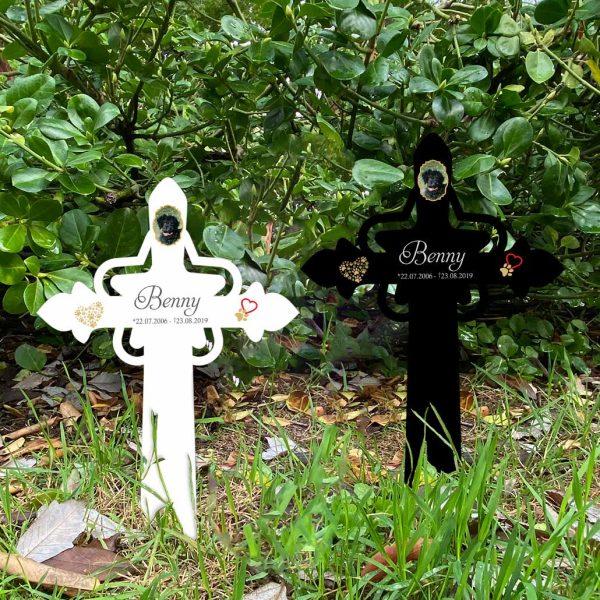 Grabkreuz mit Stern fürs Tier mit Foto und Pfotenherz