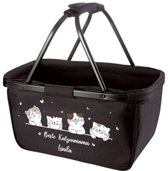 Einkaufskorb Korb mit Name Beste Katzenmama