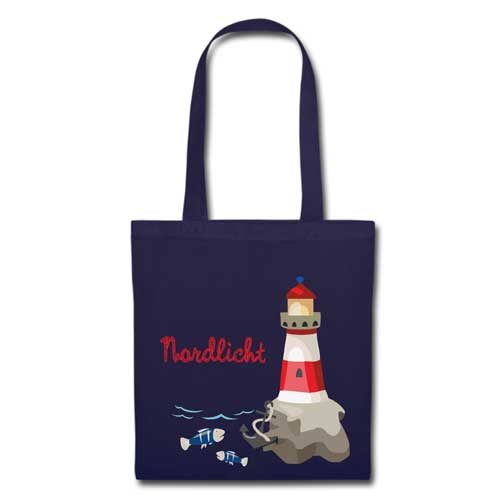 Stofftasche navy Nordlicht Leuchtturm