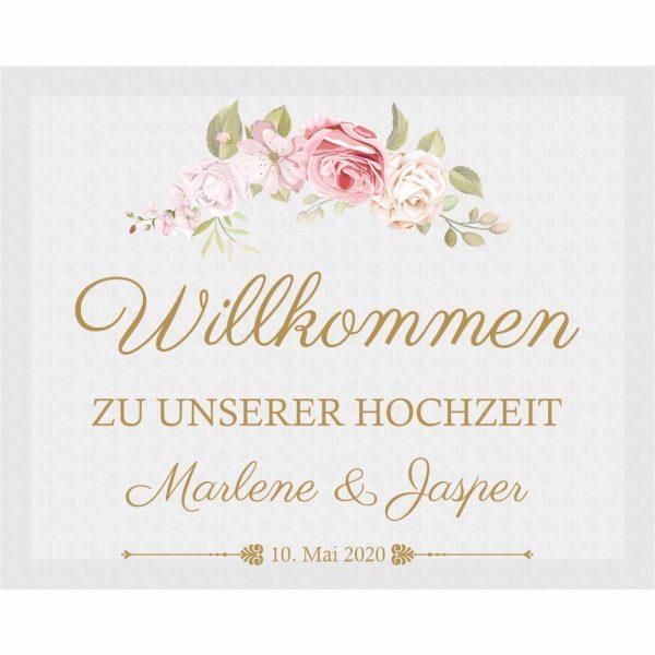 Willkommensschild auf Leinwand mit Datum und Namen Hochzeit Rosenmotiv