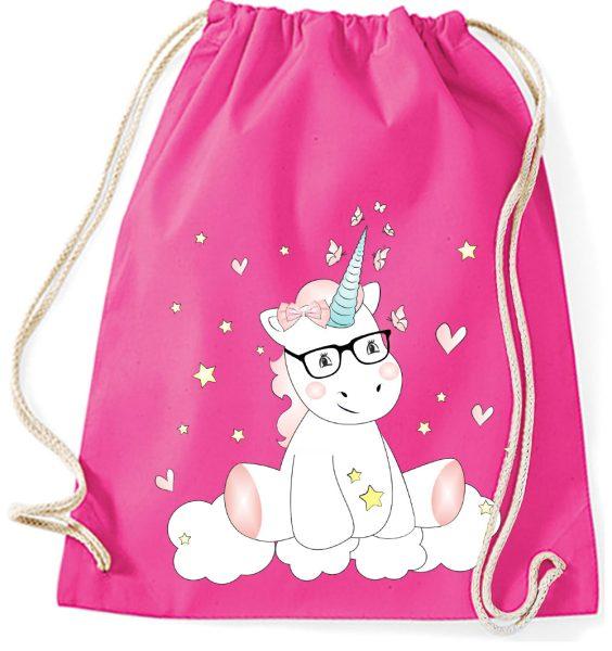 Turnbeutel aus Baumwolle mit Einhorn Cutie mit Brille