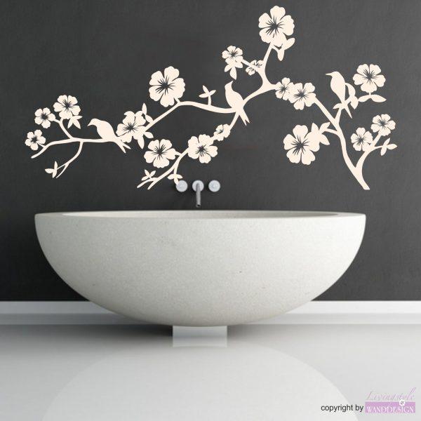 Wandtattoo Hibiskusblütenbaum
