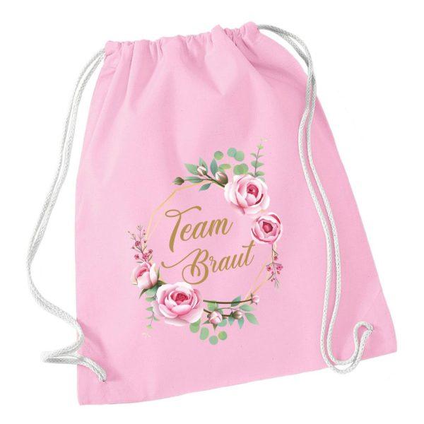 Turnbeutel zum Junggesellinnenabschied JGA mit Blumenkranz in Rosa