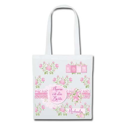 Stofftasche Muttertag Rosen weiß
