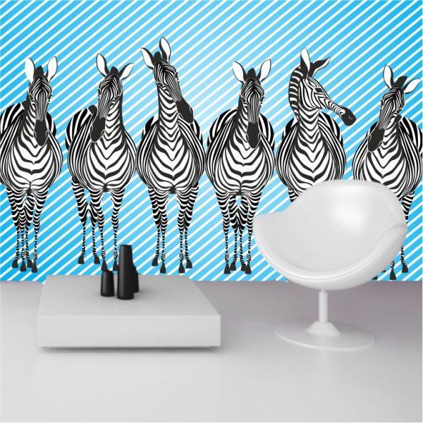 Fototapete Zebra selbsklebend - bestehend aus 3 Bahnen
